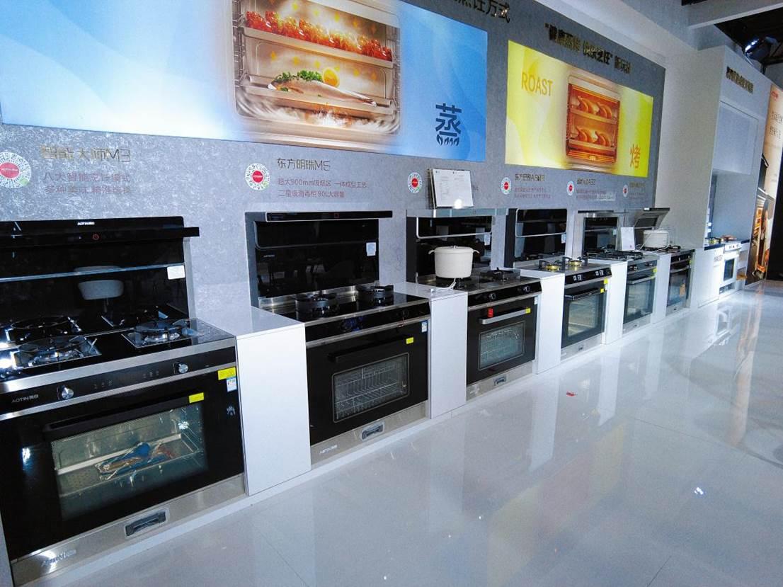3、奥田蒸烤一体集成灶已形成丰富的产品线